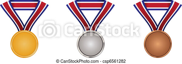 Gold, silver and bronze medals with neck ribbon - csp6561282