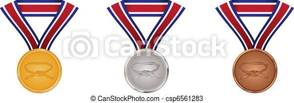 Gold, silver and bronze martial arts medals - csp6561283