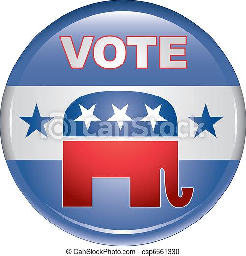 Vote Republican Button - csp6561330