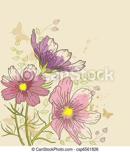 floral background with cosmos flowers - csp6561826
