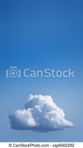 Single white cloud in blue sky - csp6562292
