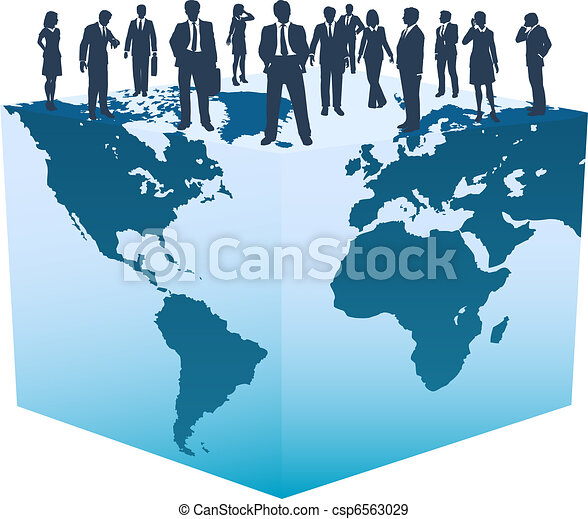 Global business resources people on world cube - csp6563029