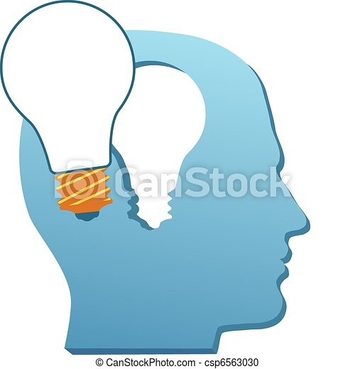 Invention man mind think light bulb cut out - csp6563030
