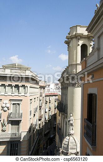 rooftop architecture Gothic La Rambla district Barcelona Spain - csp6563120