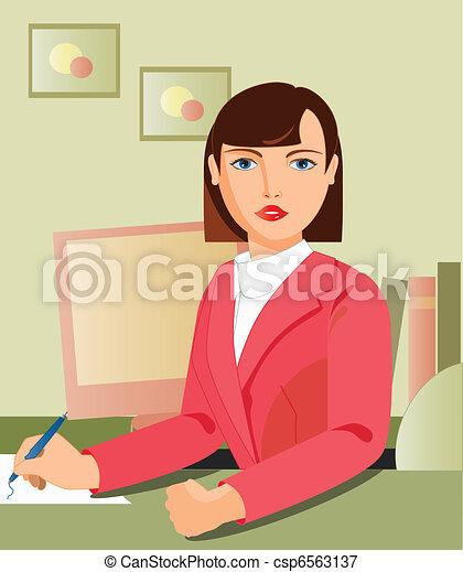 secretary working - csp6563137