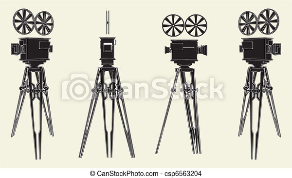 Antique Movie Stand Camera - csp6563204
