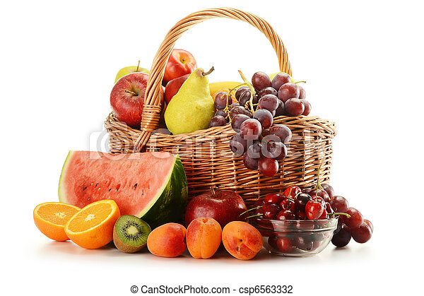 Fruits and wicker basket - csp6563332