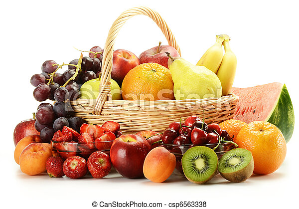 Fruits and wicker basket - csp6563338