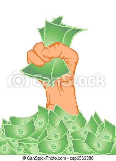 hand holding money - csp6563386. hand holding money from money pile