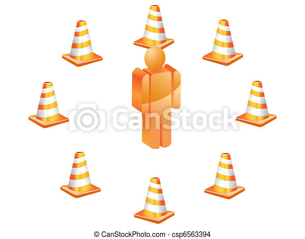 3D symbol people with traffic cones - csp6563394