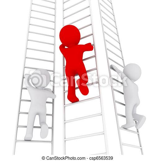 3D man climbing up the ladder - csp6563539