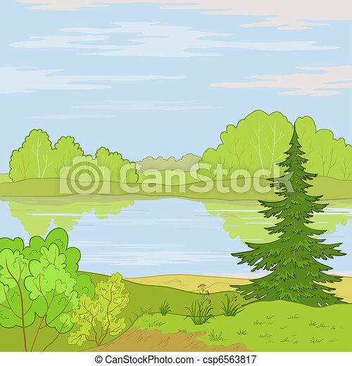 Landscape. Forest river - csp6563817