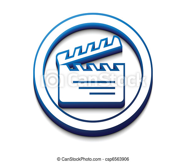 3d glossy clapper boards icon - csp6563906