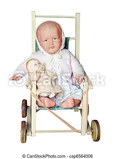Antique Dolls Pushchair with two dolls  - csp6564006