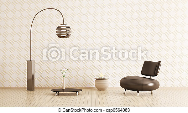 Modern interior of room 3d render - csp6564083