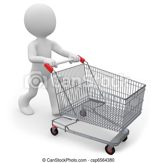 Man pushing a shopping cart - csp6564380