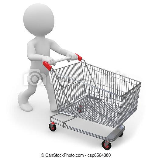 Man pushing a shopping cart - csp6564380
