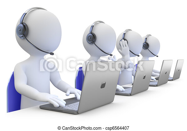 Employees working in a call center - csp6564407