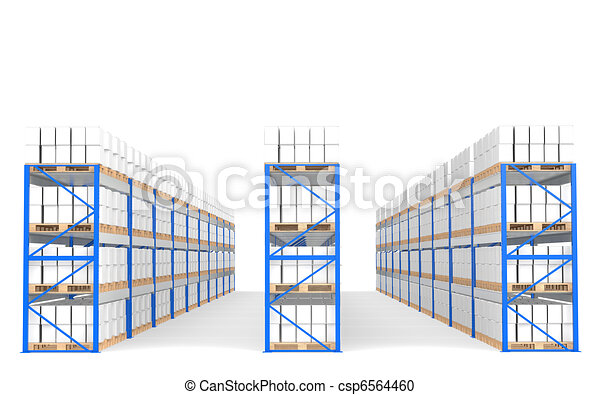Warehouse Shelves, Front view with shadows. Part of a Blue Warehouse and logistics series. - csp6564460