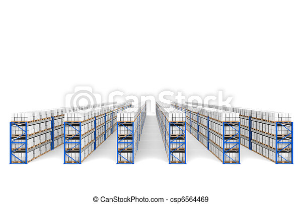 Shelves x 60. Top Perspective view, shadows. Part of a Blue Warehouse and logistics serie. - csp6564469