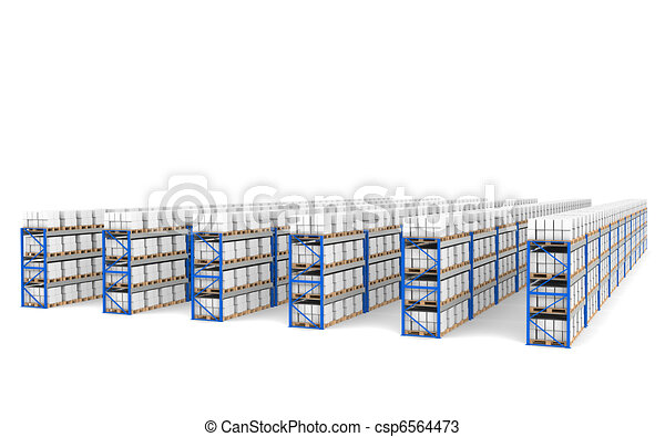 Shelves x 60. Top Perspective view, Shadows. Part of a Blue Warehouse and logistics series. - csp6564473
