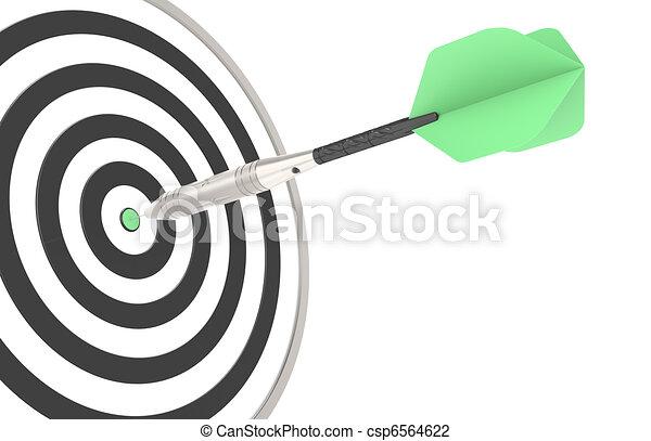 Green dart hitting the target - csp6564622