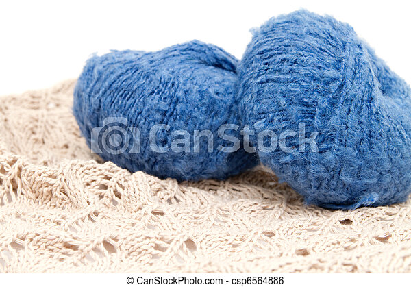 the blue yarn skeins isolated on white - csp6564886