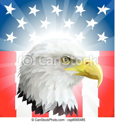 Patriotic American Eagle and Flag - csp6565485