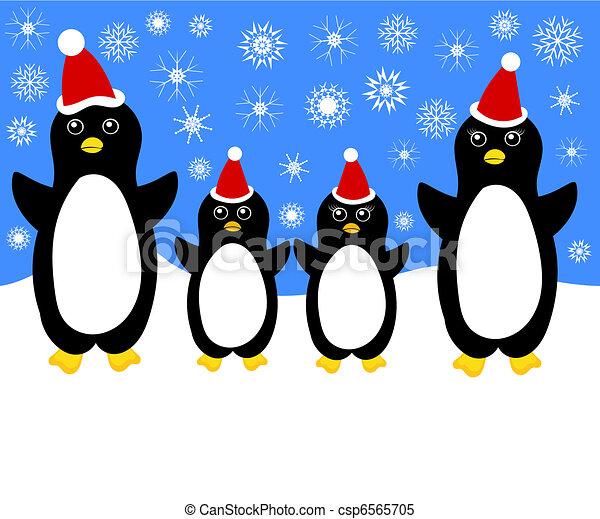 Penguin Family Drawing Christmas Penguin Family