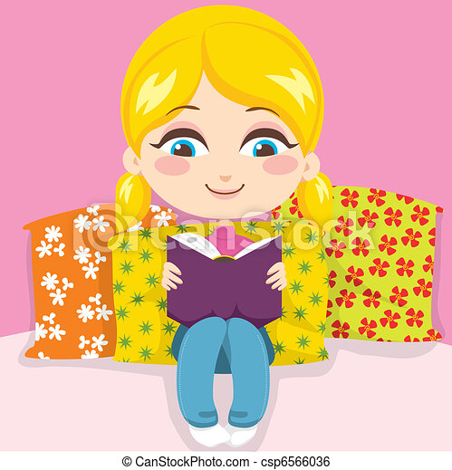 Girl Reading Book Vector Clipart - Instant Download ...