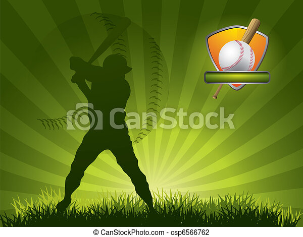 Baseball player strikes the ball with a stick - csp6566762