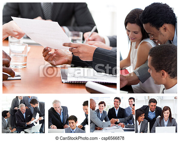 Collage of business meetings - csp6566878