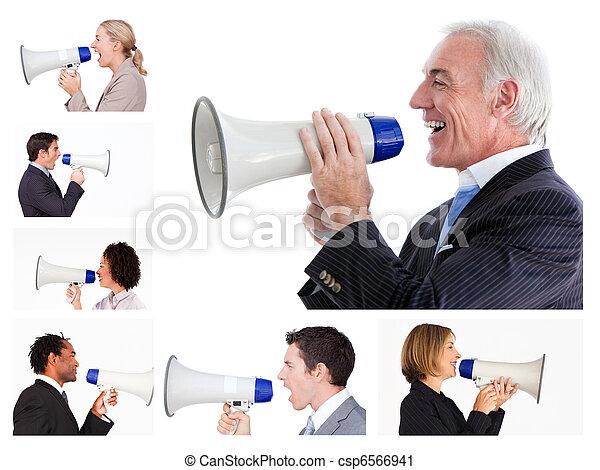 colagem, negócio, pessoas, gritando, megafone - csp6566941