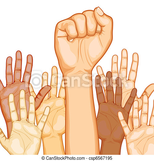 Multi Racial raised Hands - csp6567195