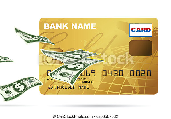 Dollar coming out of Credit Card - csp6567532