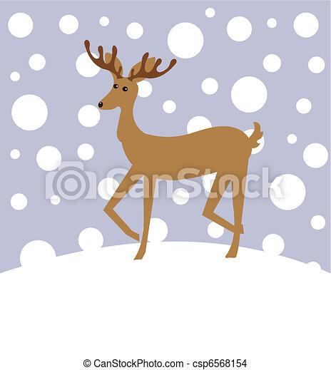 Reindeer in winter - csp6568154
