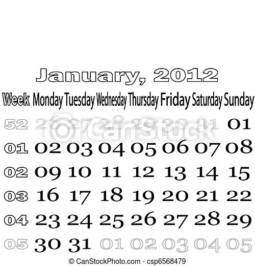 January 2012 monthly calendar - csp6568479