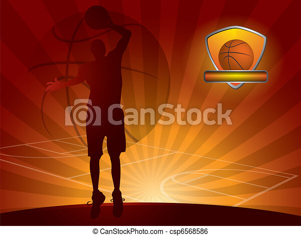 Basketball player with a ball - csp6568586