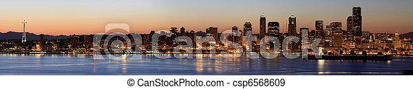 Seattle Skyline at Dawn along Puget Sound - csp6568609