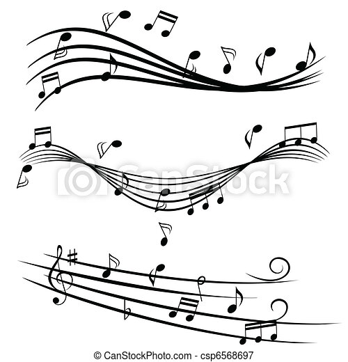 Music notes on stave - csp6568697