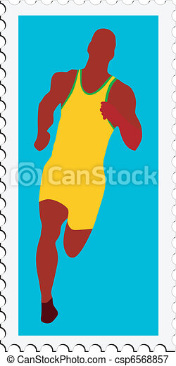athletics on stamp - csp6568857