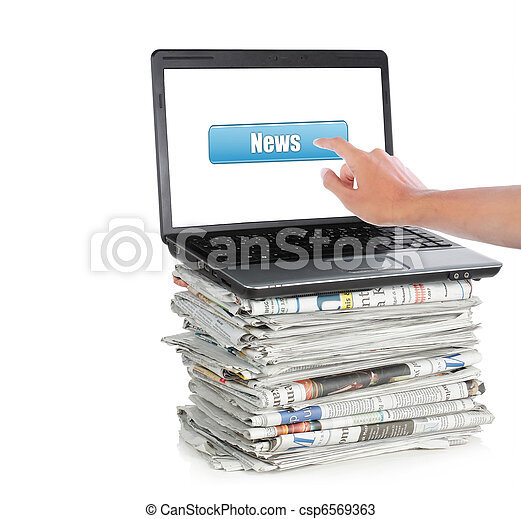 News on a laptop computer - csp6569363