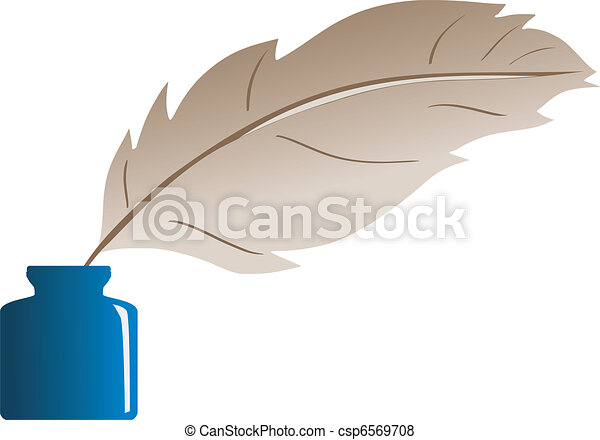 feather and ink bottle - csp6569708