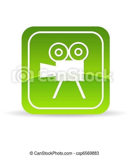 Green Video Camera Icon - csp6569883