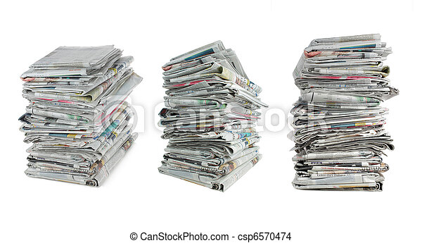 newspaper over white - csp6570474