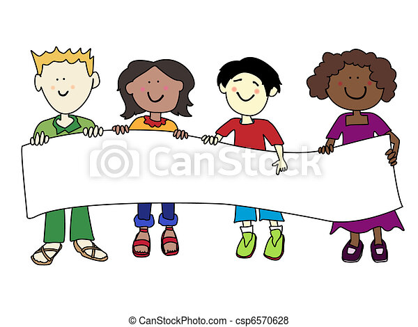 Ethnic diversity kids and banner - csp6570628