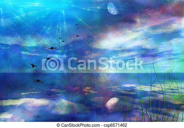 Skyscape with Moon - csp6571462