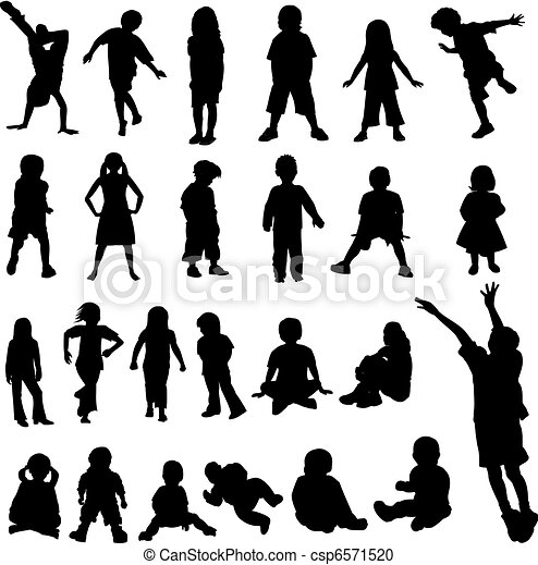 Lots of Children and Babies Silhoue - csp6571520