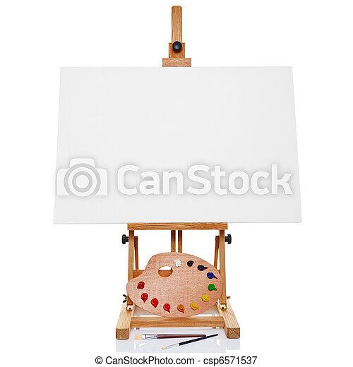 spazzole, tela, cavalletto, tavolozza, foto, artisti, isolato, Vernice, Più, fondo, vuoto, bianco - csp6571537
