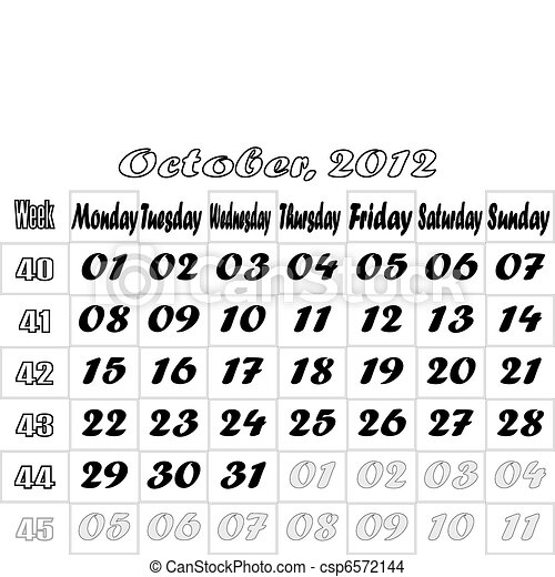 October 2012 monthly calendar v.2 - csp6572144